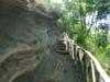 Piroclastiti stratificate lungo un sentiero della Riserva